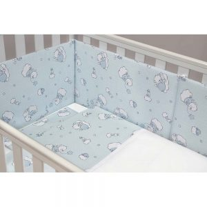 Set lenjerie patut 60x120cm, BEARS – BLUE